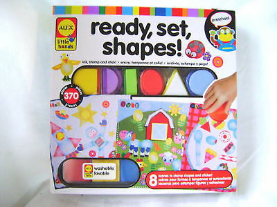 NEW READY SET SHAPES INK STAMPS WITH FOAM SHAPES AND STICKER SHEETS ALEX 1471