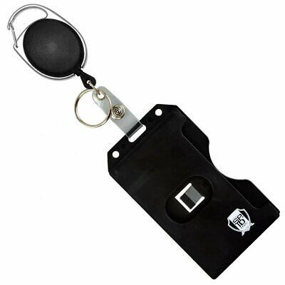 Carabiner Badge Reel with Multi Card Hard Plastic ID Badge Holder & Key Ring