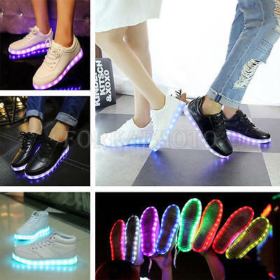 Fashion LED Light Lace Up Unisex Sportswear Sneaker Luminous Shoes Casual