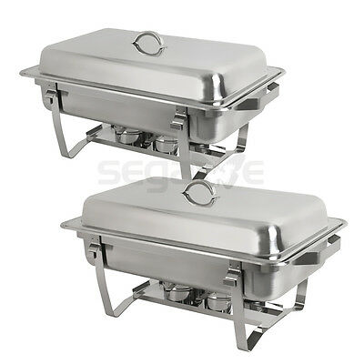 2 FREE SHIP New Stainless FOLDING CHAFING Dish Set CHAFER WARMER CATERING 8 Qt
