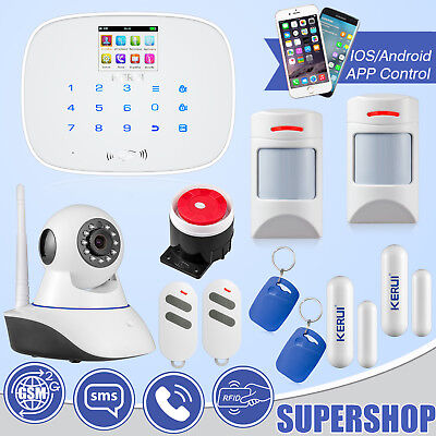 IOS/Android APP Control KERUI G19 GSM RFID SMS Home Alarm System,WiFi IP Camera