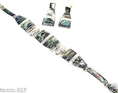 Taxco Mexican 950 Sterling Silver Abalone Bracelet Earrings Mexico