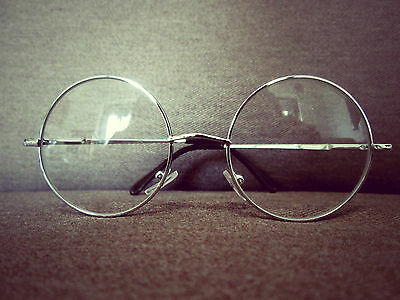 Harry Potter Silver Round Oversized Metal Frame Fashion Glasses 60s 80s