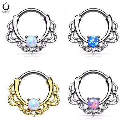 G23 Titanium Opal Nose Septum Ring Nose Hoop Ring Beauty Lacey Rings Clicker 16G