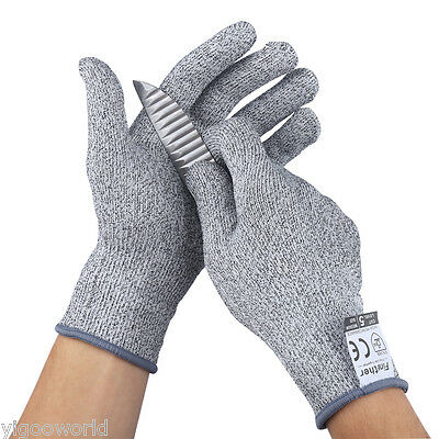 Finether Safety Cut Proof Stab Resistant Elastic Fiber Mesh Butcher Gloves S-XL