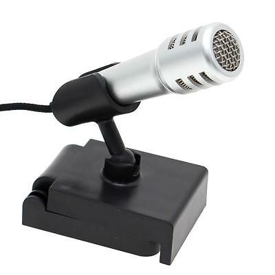 Universal Silver 3.5mm Mini Microphone Mic Talk Recorder For Cell Phone Laptop
