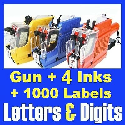 Alphanumeric Price Gun 2 Lines Rows 10 Letters & 10 Numbers +1000 Labels 4 Inks