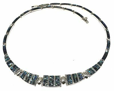 Taxco Mexican 950 Sterling Silver Abalone Necklace Mexico