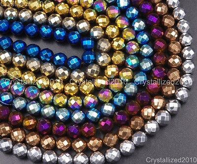 Natural Hematite Gemstone Faceted Round Beads Metallic Colors 4mm 6mm 8mm 15.5""