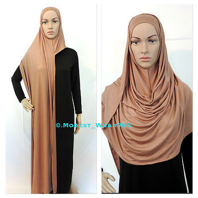 Cotton Jersey Slip on Wrap Instant Maxi Hijab Muslim Islam Headcover 180x70cm