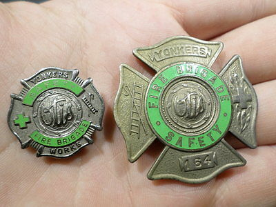 Yonkers OBSOLETE Fire Brigade Safety Badge and Pin Sterling