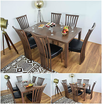 New Rectangle Dining Table and 6 Chairs Set Modern Solid Wood Furniture Kitchen