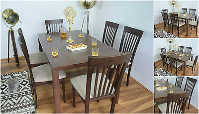 Solid Wood Rectangle Dining Table and 6 Chairs Set Modern Furniture Kitchen