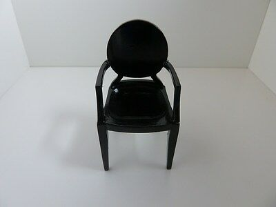 Dolls House Miniature 1:12 Scale Furniture Black Plastic 'Ghost' Chair (7219)