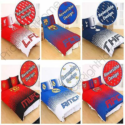 Official Football Fc 'fade' Single & Double Duvet Cover Sets Arsenal, Barcelona