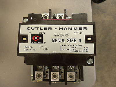 Cutler Hammer Size 4 Ac Magnetic Contactor C10Fn3Ab 120 Volt Coil 3 Pole