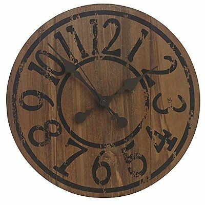 Saloon Wall Clock Real Wood Antique Effect Dial Indoor & Outdoor Garden Use 33cm
