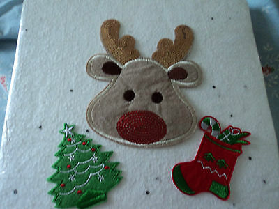 iron on christmas patches deer , tree, stocking