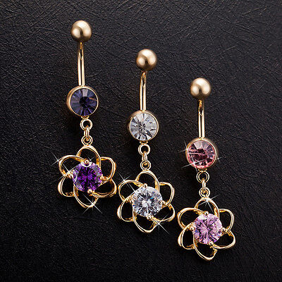 Body Piercing Surgical Steel Belly Bars Navel Button Ring Crystal Spin Flower