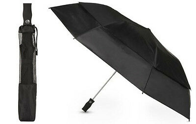 Totes Black 7104 Auto Open Vented Canopy Golf Size Folding Umbrella Carrying Bag