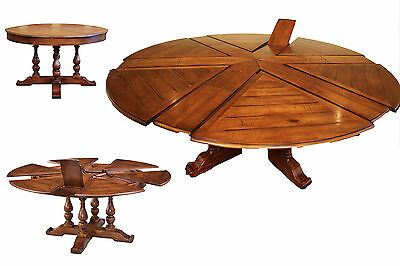 Round dining table with hidden leaves | Solid walnut reclaimed wood style, Jupe