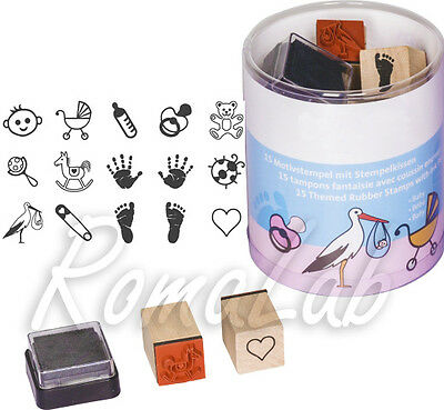 15 TIMBRI IN GOMMA STAMP a tema baby bambino SET x SCRAPBOOKING scrap cicogna