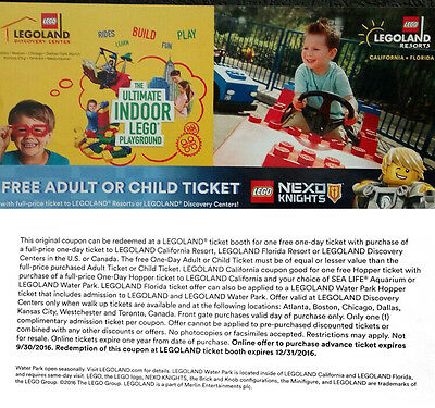 Legoland Resorts Free 1 adult or kid ticket with full price ticket purchase LEGO