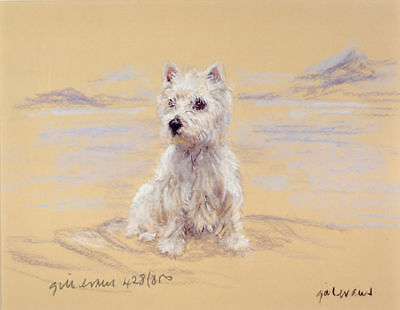 WEST HIGHLAND WHITE TERRIER WESTIE DOG LIMITED EDITION PRINT - On the Beach