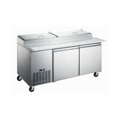 "71"" Stainless Steel Double Door Refrigerated Pizza Prep Table ( Free Shipping )"