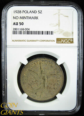 1928 No Mintmark Poland 5 Zlotych Silver Coin NGC AU50 Toned Y#18 About UNC