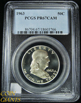 1963 Franklin Half Dollar PCGS PR67 CAM Cameo Rare GEM PF Proof Coin Type PQ 50c