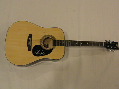 Chris Lane Signed Full-Size Natural Acoustic Guitar Country Superstar Proof Fix