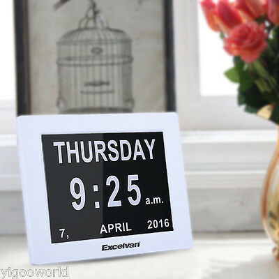 """8"""" Memory Loss Digital Calendar Day Week Month Clock with Extra Large"""