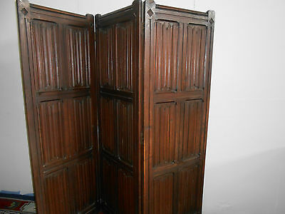 A Fine Folding Screen Or Devider Made Of Solid Oak.