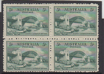 Stamps 1932 Sydney Harbour Bridge 5/- green in block of 4 rare like this