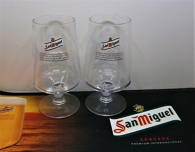 Set Of 2 Official San Miguel Chalice Pint Beer Glass 20oz - Brand New Unused