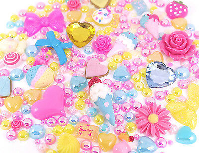 POPSICLE Sparkle Cabochons Rhinestone & Pearl Set Kit DIY Deco Kawaii Craft