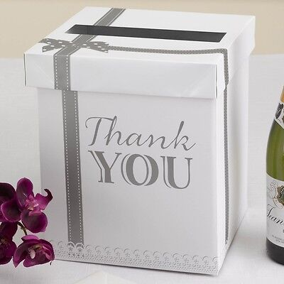 Chic Boutique Wedding Guest Thank You Card Post Box- White/Silver