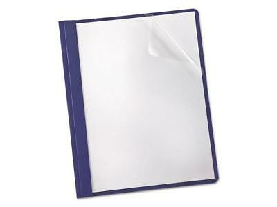 Linen Finish Clear Front Report Cover 3 Fasteners Letter Navy 25/Box