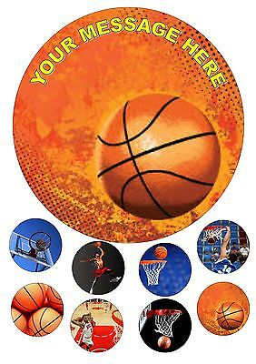 """Basketball 7.5"""" Personalised Edible Cake Topper Iced / Icing + 8 Cupcake Toppers"""