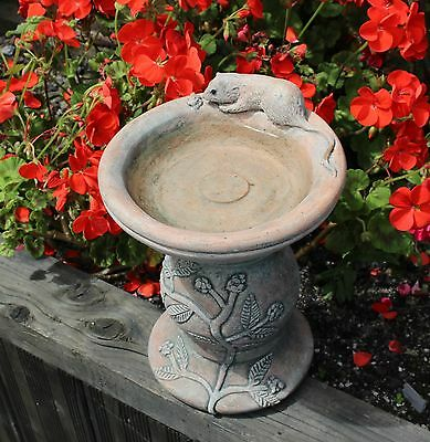 Bird Bath -  Mouse and Berry Stone Garden Ornament Decor - Cornwall Stoneware