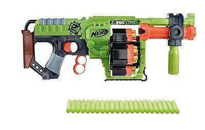 Nerf zombie strike doominator blaster toy with 3-position handle inc 24 darts
