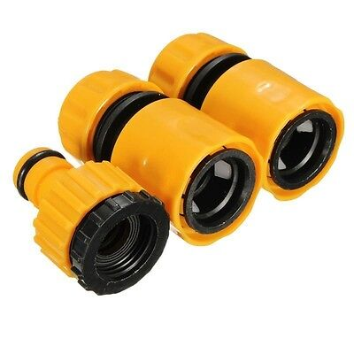 Useful 3PC Hose Pipe Fitting Set Water Connector Adaptor Garden Lawn Tap