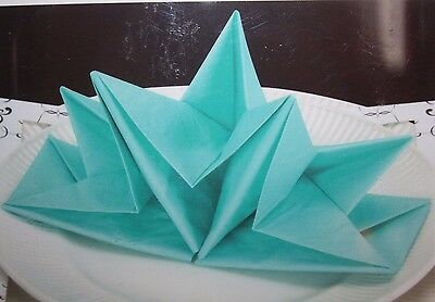 New David Tutera Pre-Folded Paper Napkins Turquoise 12 Count