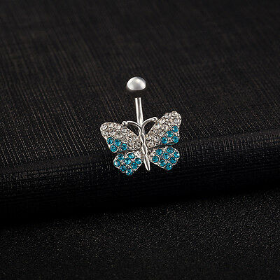 Body Piercing Surgical Steel Belly Bars Navel Button Ring Crystal Blue Butterfly