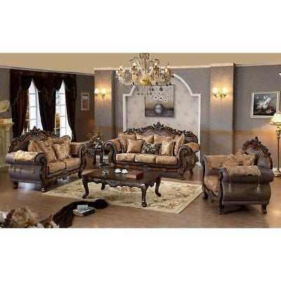 Meridian 693 Seville Living Room Set 3pcs Hand Carved Traditional Style