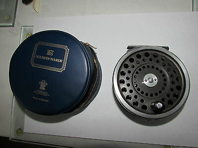 "good vintage hardy marquis no. 1 salmon fly fishing reel 3 + 7/8ths"" + case"