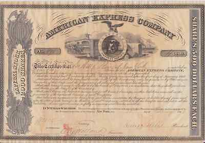 Rare 1862 Original American Express Co. Wells & Fargo Signed Stock Certificate