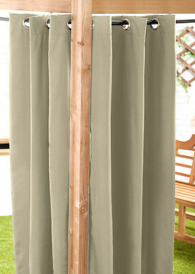Stone 140 x 210cm Outdoor Curtain Eyelet Panel Garden Décor Drape Patio Shade