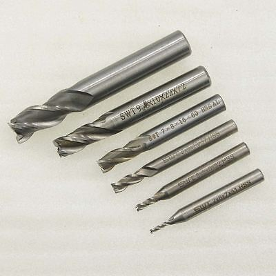 3 Flute Mould End Milling Aluminum Steel Lathe Cutter Drill HSS 2 to 12m 111926